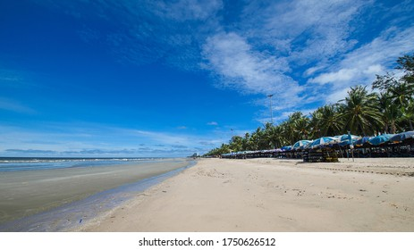 Bangsaen Beach is open for service after the water reducing sky, beautiful sky, taken on the morning of Saturday 6 June 2020 in Saen Suk Municipality, Chonburi, Thailand, ready to welcome tourists.