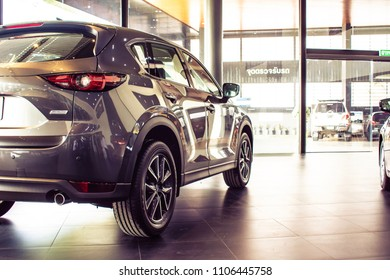 BANGSAEN THAILAND JUNE 2018 This car new mazda cx 5 brand japan gray color on parking street for customer so parked in showroom thailand for transport automotive automobile Illustrative editorial