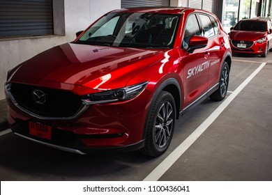 BANGSAEN THAILAND MAY 2018 This car new cx 5 mazda brand japan red color on parking street for customer so parked in showroom thailand for transport automotive automobile Illustrative editorial image
