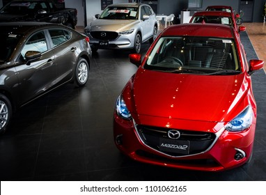 BANGSAEN THAILAND MAY 2018 This car new mazda 2 brand japan red color on parking street for customer so parked in showroom thailand for transport automotive automobile Illustrative editorial image