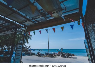 Bangsaen, Thailand-January 22, 2019: A picture blue sea taken from a lovely hostel.  This picture can be used in such concepts as accommodations, seaside, lifestyle, relax, recreation and so on.