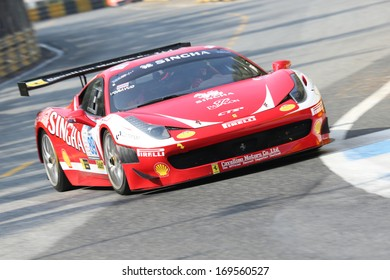 BANGSAN, THAILAND - DEC 22 : Voravud Ph. driver in  Ferrari 458 during the Bangsan Thailand Speed Festival 2013 on December 22, 2013 in Bangsan, Chonburi, Thailand.