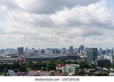 Bangsue, Bangkok/ Thailand - June 14, 2019:  Bangsue district and Construction of Bangsue grand station Bangkok metropolitan (MRT purple line), aerial view.