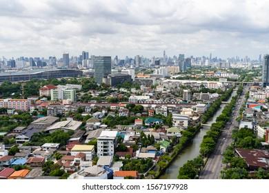 Bangsue, Bangkok/ Thailand - June 14, 2019: Top view of Pracha Chuen Road, Klong Prapa and construction of Bangsue grand station Bangkok metropolitan (MRT purple line) in Bangsue district.