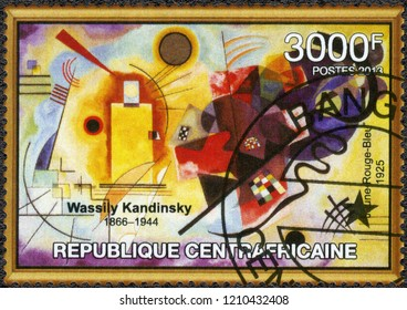 "BANGUI, CAR - JANUARY 25, 2013: A stamp printed in Central African Republic shows ""Yellow Red Blue"" by Wassily Wassilyevich Kandinsky (1866-1944), 2013"