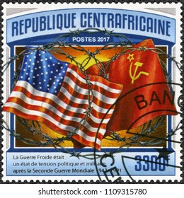 BANGUI, CAR - MARCH 21, 2017: A stamp printed in Central African Republic shows flags USA and USSR, The Cold War, 2017