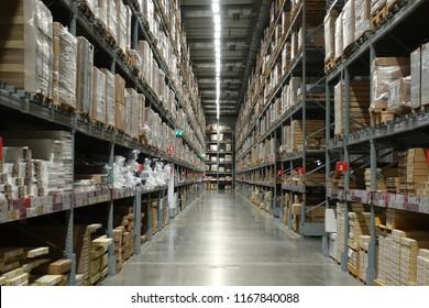Bangyai, Nonthaburi, Thailand - August 28, 2018 : IKEA warehouse on August 28, 2018 in Nonthaburi, Thailand. Bangyai IKEA furniture warehouse area, Large Inventory. Warehouse Goods Stock for Logistic.