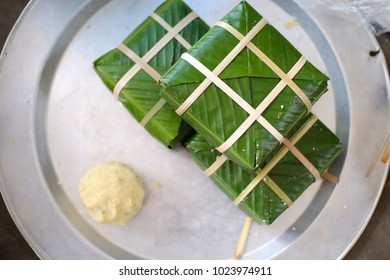 """""""BANH CHUNG"""" (Sticky rice cake) is a traditional in Lunar new year of Vietnamese rice cake which is made from glutinous rice, mung beans, pork and other ingredients."""
