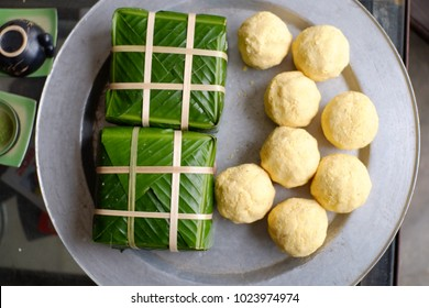 """BANH CHUNG"" (Sticky rice cake) is a traditional in Lunar new year of Vietnamese rice cake which is made from glutinous rice, mung beans, pork and other ingredients."