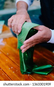 Banh Chung - Vietnamese Famous Traditional Food - Making Steps With Mung Beans, Sticky Rice, Pork, Green Leaves