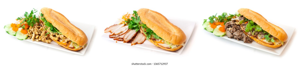 Banh Mi Sandwich - a  selection of Fresh Vietnamese baguette -  fast food menu with chicken, bacon and beef. Prepared with pickles, cilantro and spring onions - Bánh mì.