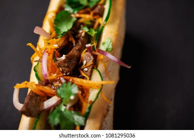 banh mi sanwdiches with beef close up