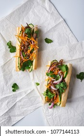 banh mi sanwdiches with beef. top view