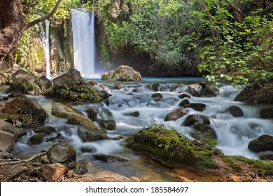Banias waterfall stream. River Hermon, Nature Reserve in the north of Israel