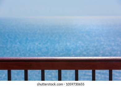 Banister with ocean or sea view background, highview of sea from beach hotel room