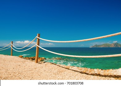 banister railing on marine rope and wood Moraira Mediterranean sea