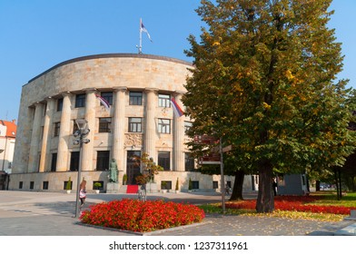 BANJA LIKA, BOSNIA AND HERZEGOVINA - october 19, 2018: Banski dvor palace in Banja Luka,  Famous landmark in the capital city of Serbian entity of Bosnia and Herzegovina