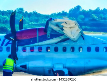 BANJA LUKA, BOSNIA AND HERZEGOVINA, July 12 2017: Air Serbia ATR turbo prop wing with engine during parking time at International Airport in Banja Luka, Bosnia and Herzegovina.