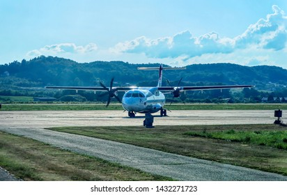 BANJA LUKA, BOSNIA AND HERZEGOVINA, July 12 2017: Air Serbia ATR turbo during approaching to parking position at International Airport in Banja Luka, Bosnia and Herzegovina.