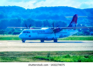 BANJA LUKA, BOSNIA AND HERZEGOVINA, July 12 2017: Air Serbia ATR turbo prop after landing taxing to parking position at International Airport in Banja Luka, Bosnia and Herzegovina.
