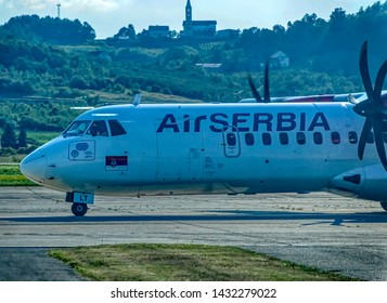 BANJA LUKA, BOSNIA AND HERZEGOVINA, July 12 2017: Air Serbia ATR turbo prop airline front part with two engines at International Airport in Banja Luka, Bosnia and Herzegovina.