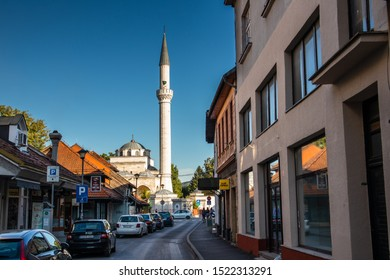 Banja Luka / Bosnia and Herzegovina - september 16 2019: Street in Banja Luka with  Ferhat mosque in the background