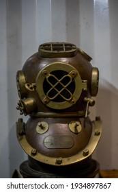 Banjarbaru City, South Kalimantan Province  Indonesia - December 21st 2019: replica diving helmet
