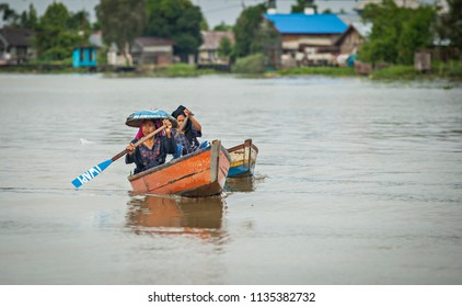 Banjarmasin, South Kalimantan, Indonesia 10/08/2016: Traditional Floating Market at Lok Baintan, a very unique traditional market in the middle of Martapura river that operated mainly by women.
