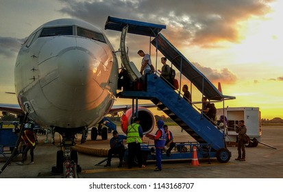 Banjarmasin, South Kalimantan, Indonesia (11/26/2016) : people boarding to a plane in Syamsudin Noor Airport, Banjarmasin, Indonesia.