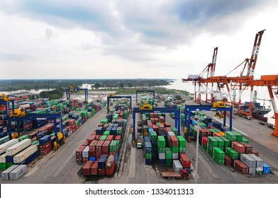 Banjarmasin, South Kalimantan, Indonesia, 5 - March -2014: Trisakti Banjarmasin Port appears from a height while carrying out loading and unloading activities