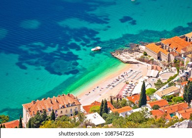 Banje beach in Dubrovnik aerial view, Dalmatia region of Croatia