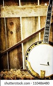 banjo in a barn
