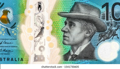 Banjo Peterson, 18th century poet. portrait from Australia 10 Dollars 2017 banknote. Australia money, Australian banknote. Closeup Collection