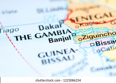 Banjul. Africa on a map