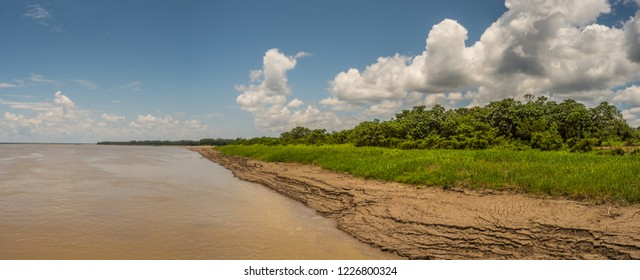 Bank of the Amazon river during the low water season. Panoramic view from  the deck of a cargo boat Amazonia. Peru. South America.