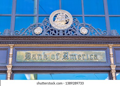 Bank of America branch located in historic Mediterranean revival and art deco style building at 1455 Stockton Street in North Beach neighborhood - San Francisco , California, USA - May 4 2019