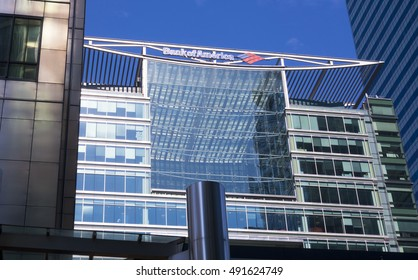 Bank of America at Canary Wharf in Londons financial district - LONDON / ENGLAND - SEPTEMBER 15, 2016