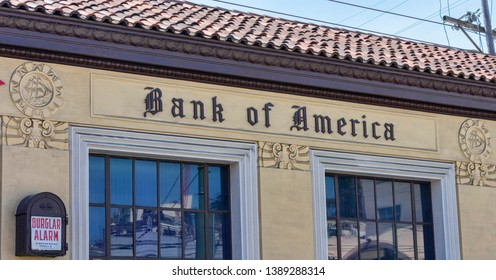 Bank of America sign on branch located in historic mediterranean revival and art deco style building at 1455 Stockton Street in North Beach neighborhood - San Francisco , California, USA - May 4 2019