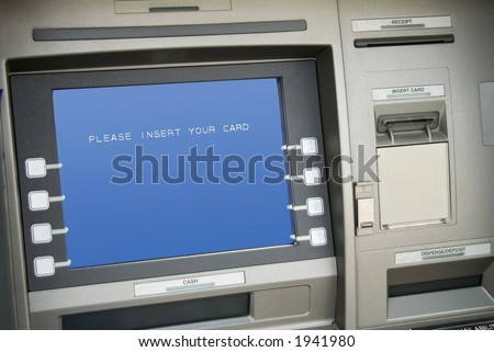 Bank Atm Machinescreen Say Please Insert Stock Photo Edit Now