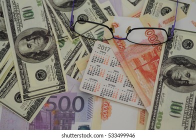 bank banknotes dollar, euro, ruble on a white background