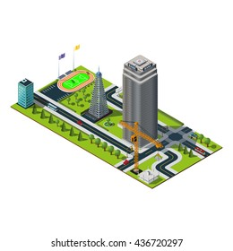 Bank building in downtown. Yellow crane , skyscraper construction, stadium and cell tower illustration. Isometric city map.