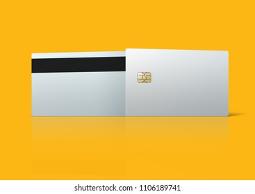 Bank card template on orange background