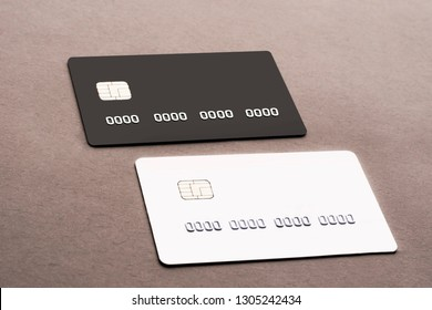 Bank cards are black and white. The concept of online commerce, online shopping.