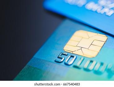 Bank cards up close