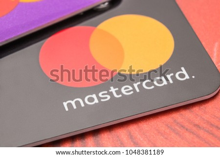 Bank cards of the mastercard close-up. Cheboksary, Chuvash Republic, Russia, 18/03/2018.