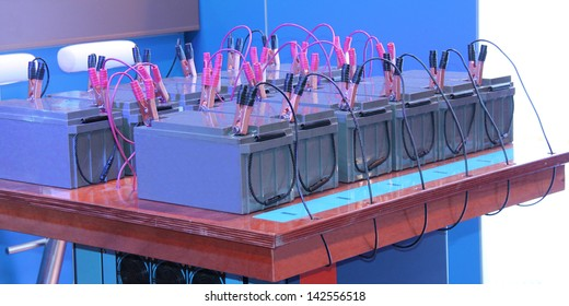 A Bank of Connected Batteries for a Power Display.