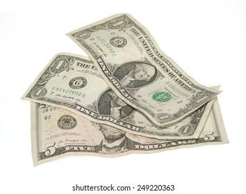 Bank of dollars isolated on white background.