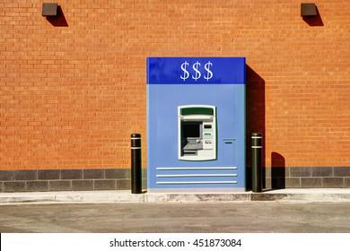 Bank drive thru in sunny summer day.