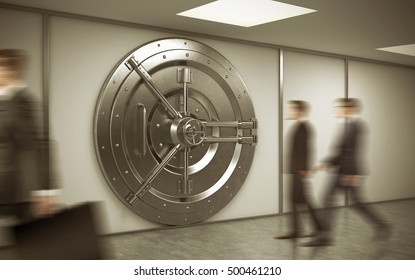 Bank employee is walking to his workplace. Two his colleagues are entering the vault. Concept of bank work.