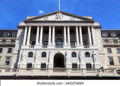 Bank of England - architecture landmark of London, UK.